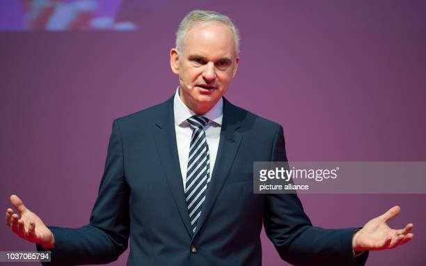 Johannes Teyssen delivers a speech at the official inaugural cermony of the 'Amrumbank West' offshore wind park in Hamburg Germany 04 February 2016...