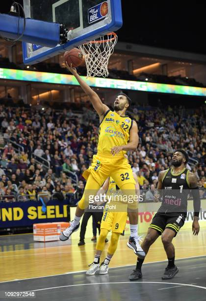 Johannes Thiemann of Alba Berlin and Adonis Thomas of medi Bayreuth during the game between Alba Berlin and Medi Bayreuth at the MercedesBenz Arena...