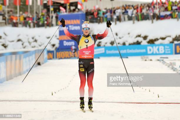 Johannes Thingnes Boe of Norway celebrate the victory at the men 125 km Pursuit Competition at the BMW IBU World Cup Biathlon Hochfilzen on Biathlon...