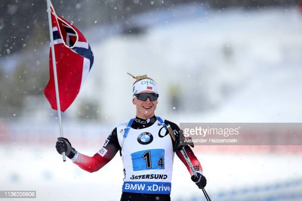 Johannes Thingnes Boe of Norway celebrates at the finish line winning the IBU Biathlon World Championships Men's Relay at Swedish National Biathlon...