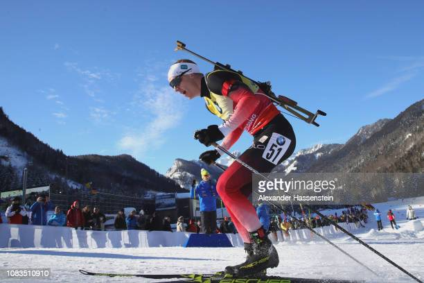 Johannes Thingnes Boe of Norway competes at the 10 km Men's Sprint during the IBU Biathlon World Cup at Chiemgau Arena on January 17 2019 in...