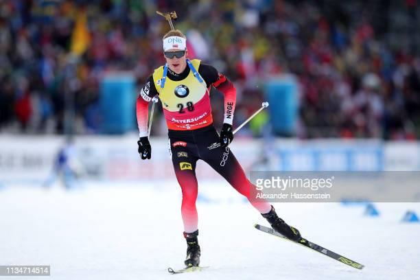 Johannes Thingnes Boe of Norway competes at the IBU Biathlon World Championships Mmen 10km Sprint at Swedish National Biathlon Arena on March 09 2019...