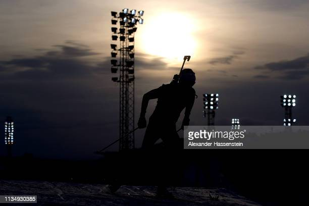 Johannes Thingnes Boe of Norway competes at the IBU Biathlon World Championships Men's Pursuit at Swedish National Biathlon Arena on March 10, 2019...