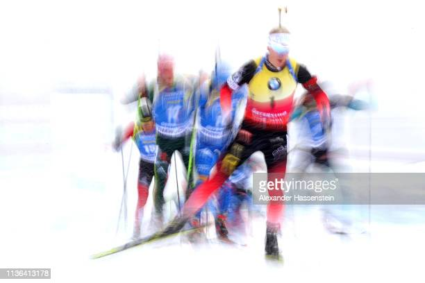 Johannes Thingnes Boe of Norway competes at the IBU Biathlon World Championships Men's Mass Start at Swedish National Biathlon Arena on March 17 2019...