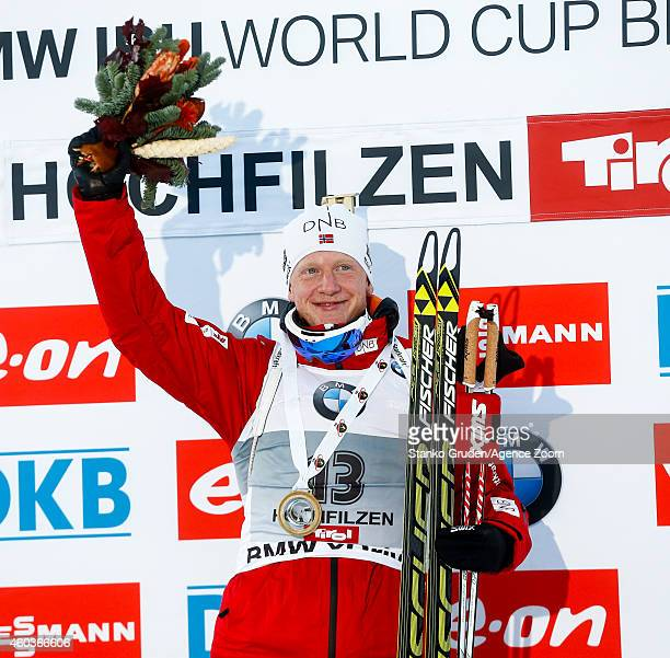 Johannes Thingnes Boe of Norway competes during the IBU Biathlon World Cup Men's and Women's Sprint on December 12, 2014 in Hochfilzen, Austria.