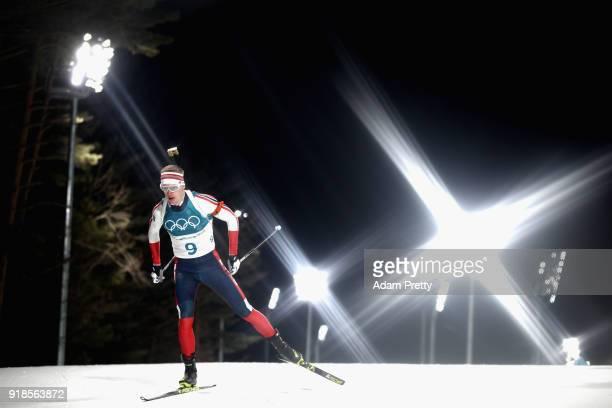 Johannes Thingnes Boe of Norway competes during the Men's 20km Individual Biathlon at Alpensia Biathlon Centre on February 15 2018 in Pyeongchanggun...