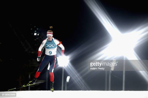 Johannes Thingnes Boe of Norway competes during the Men's 20km Individual Biathlon at Alpensia Biathlon Centre on February 15 2018 in Pyeongchanggun...