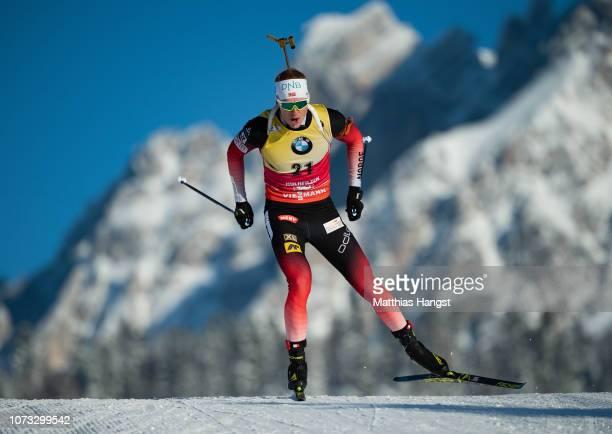 Johannes Thingnes Boe of Norway competes in the IBU Biathlon World Cup Men's 10 km Sprint on December 14 2018 in Hochfilzen Austria
