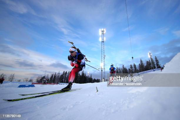 Johannes Thingnes Boe of Norway competes in the IBU Biathlon World Championships Single Mixed Relay at Swedish National Biathlon Arena on March 14...