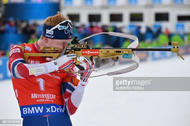 Johannes Thingnes Boe of Norway competes in the Men's 125 km Pursuit Competition of the IBU World Cup Biathlon in Anterselva on January 20 2018 / AFP...