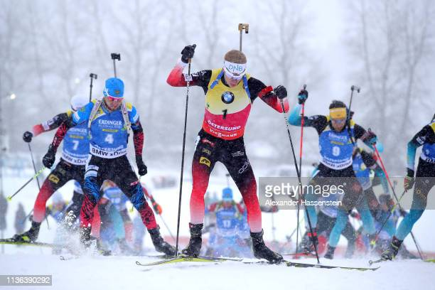Johannes Thingnes Boe of Norway competes in the Men's Mass Start at the IBU Biathlon World Championships on March 17 2019 in Ostersund Sweden