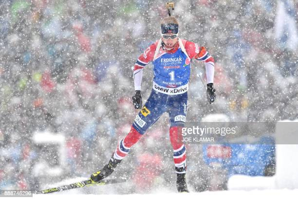 Johannes Thingnes Boe of Norway competes to win the men's 125 km pursuit event at the IBU World Cup Biathlon in Hochfilzen Austria on December 9 2017...