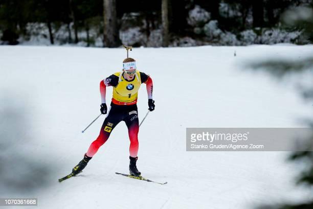 Johannes Thingnes Boe of Norway during the IBU Biathlon World Cup Men's and Women's Pursuit on December 9 2018 in Pokljuka Slovenia