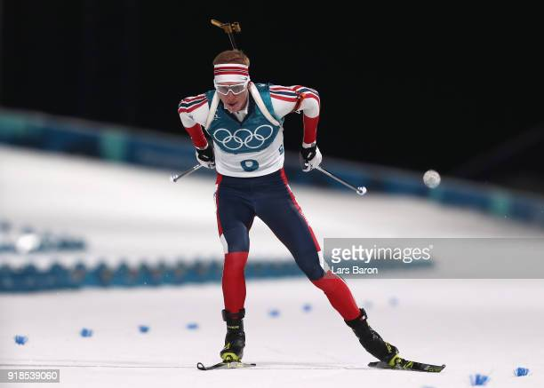 Johannes Thingnes Boe of Norway finishes during the Men's 20km Individual Biathlon at Alpensia Biathlon Centre on February 15 2018 in Pyeongchanggun...