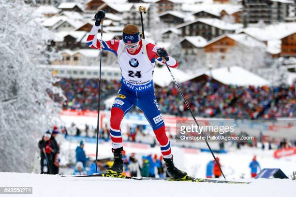 Johannes Thingnes Boe of Norway in action during the IBU Biathlon World Cup Men's Sprint on December 15 2017 in Le Grand Bornand France