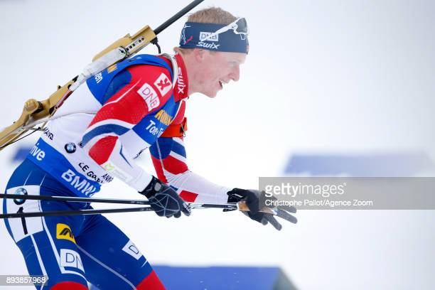 Johannes Thingnes Boe of Norway in action during the IBU Biathlon World Cup Men's and Women's Pursuit on December 16 2017 in Le Grand Bornand France