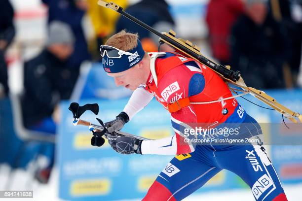 Johannes Thingnes Boe of Norway in action during the IBU Biathlon World Cup Men's and Women's Mass Start on December 17 2017 in Le Grand Bornand...