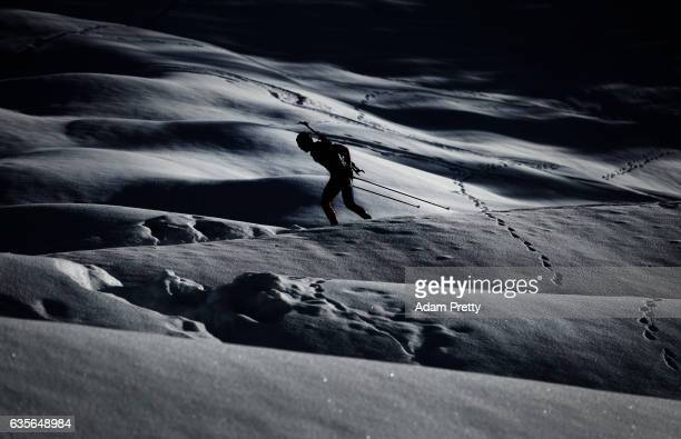 Johannes Thingnes Boe of Norway in action during the Men's 20km Individual competition of the IBU World Championships Biathlon 2017 at the Biathlon...
