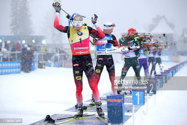 Johannes Thingnes Boe of Norway leaves the shooting range in the Men's Mass Start at the IBU Biathlon World Championships on March 17 2019 in...