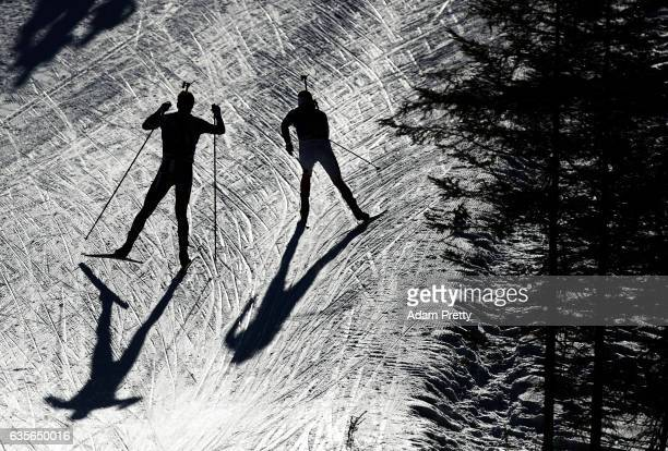 Johannes Thingnes Boe of Norway passes another competitor during the Men's 20km Individual competition of the IBU World Championships Biathlon 2017...