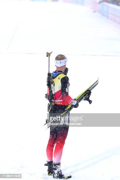 Johannes Thingnes Boe of Norway reacts at the finish area after the IBU Biathlon World Championships Men's Mass Start at Swedish National Biathlon...