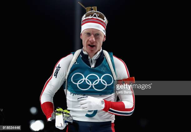 Johannes Thingnes Boe of Norway reacts at the finish during the Men's 20km Individual Biathlon at Alpensia Biathlon Centre on February 15 2018 in...