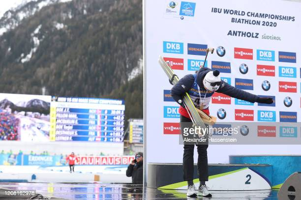 Johannes Thingnes Boe of Norway reacts to the crowd after the medal ceremony for the Men 15 km Mass Start Competition at the IBU World Championships...