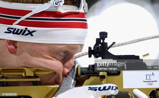 Johannes Thingnes Boe of Norway shoots prior to the Men's 20km Individual Biathlon at Alpensia Biathlon Centre on February 15 2018 in Pyeongchanggun...