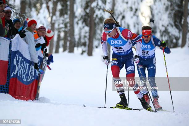 Johannes Thingnes Boe of Norway takes 1st place Adam Vaclavik of Czech Republic competes during the IBU Biathlon World Cup Men's Sprint on January 19...
