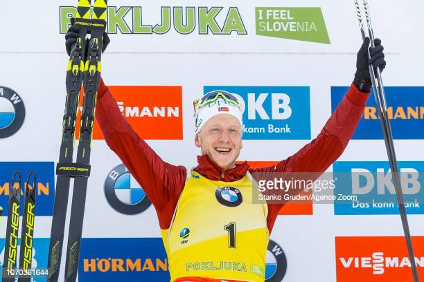 Johannes Thingnes Boe of Norway takes 1st place during the IBU Biathlon World Cup Men's and Women's Pursuit on December 9 2018 in Pokljuka Slovenia