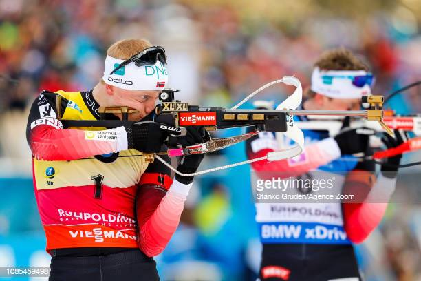 Johannes Thingnes Boe of Norway takes 1st place during the IBU Biathlon World Cup Men's and Women's Mass Start on January 20, 2019 in Ruhpolding,...