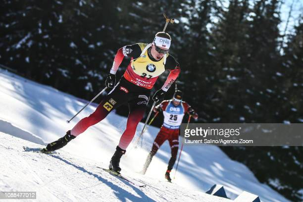 Johannes Thingnes Boe of Norway takes 1st place during the IBU Biathlon World Cup Men's Sprint on January 25 2019 in Antholz Anterselva Italy