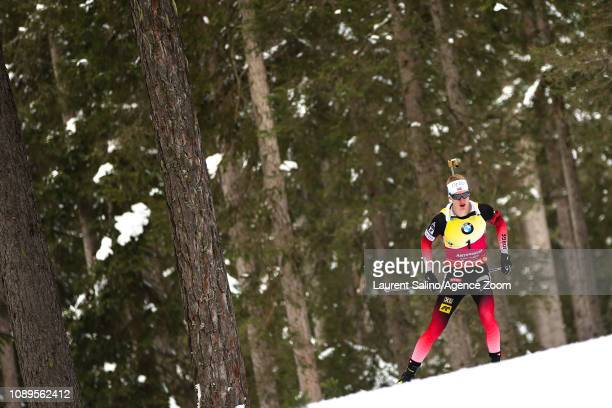 Johannes Thingnes Boe of Norway takes 1st place during the IBU Biathlon World Cup Men's and Women's Pursuit on January 26 2019 in Antholz Anterselva...