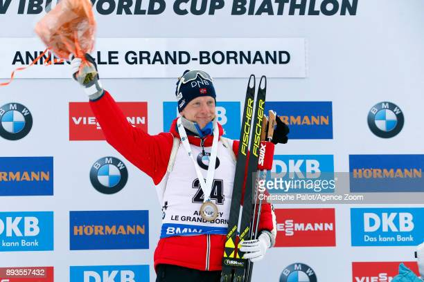 Johannes Thingnes Boe of Norway takes 1st place during the IBU Biathlon World Cup Men's Sprint on December 15, 2017 in Le Grand Bornand, France.