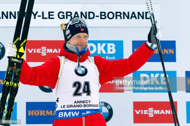 Johannes Thingnes Boe of Norway takes 1st place during the IBU Biathlon World Cup Men's Sprint on December 15 2017 in Le Grand Bornand France