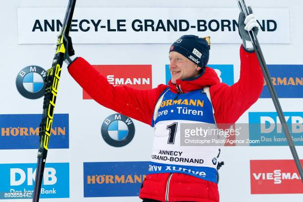 Johannes Thingnes Boe of Norway takes 1st place during the IBU Biathlon World Cup Men's and Women's Pursuit on December 16 2017 in Le Grand Bornand...