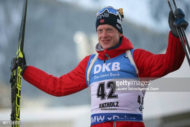 Johannes Thingnes Boe of Norway takes 1st place during the IBU Biathlon World Cup Men's Sprint on January 19 2018 in AntholzAnterselva Italy