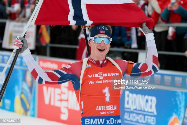 Johannes Thingnes Boe of Norway takes 1st place during the IBU Biathlon World Cup Men's and Women's Pursuit on January 20 2018 in AntholzAnterselva...