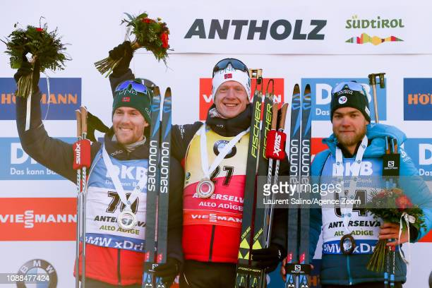 Johannes Thingnes Boe of Norway takes 1st place Erlend Bjoentegaard of Norway takes 2nd place Antonin Guigonnat of France takes 3rd place during the...