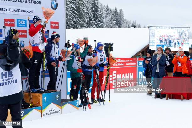Johannes Thingnes Boe of Norway takes 1st place Martin Fourcade of France takes 2nd place Antonin Guigonnat of France takes 3rd place Simon Schempp...