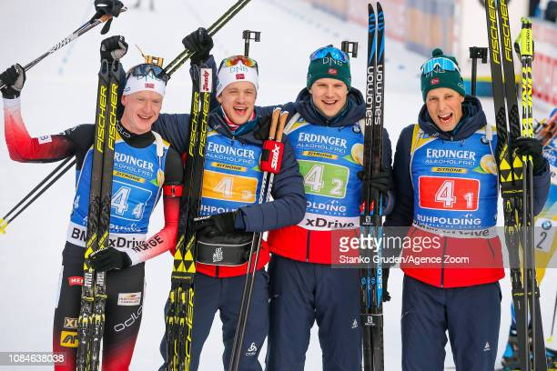 Johannes Thingnes Boe of Norway takes 1st place, Tarjei Boe of Norway takes 1st place, Vetle Sjaastad Christiansen of Norway takes 1st place, Lars...