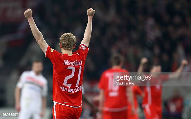 Johannes van den Bergh celebrates after winning the Second Bundesliga match between Fortuna Duesseldorf and FC St. Pauli at Esprit Arena on April 5,...
