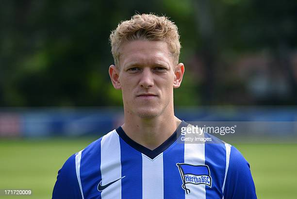 Johannes van den Bergh of Berlin pose during the official Hertha BSC Berlin team presentation at the training ground of the team on June 28 2013 in...