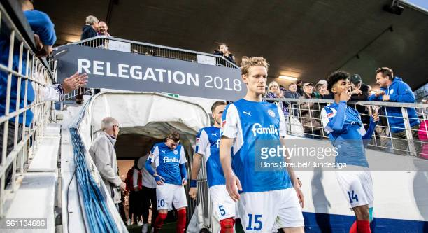Johannes van den Bergh of Holstein Kiel enters the pitch for the second half during the Bundesliga Playoff Leg 2 match between Holstein Kiel and VfL...