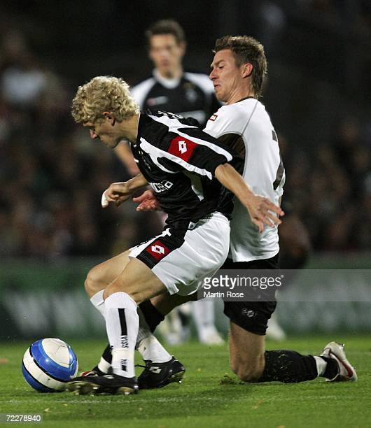Johannes van den Bergh of Moenchengladbach II and Marvin Braun of St.Pauli fight for the ball during the Third League match between FC St.Pauli and...