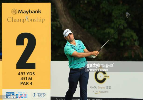 Johannes Veerman of the USA hits his teeshot on the second hole during Day Four of the Maybank Championship at Saujana Golf Country Club Palm Course...