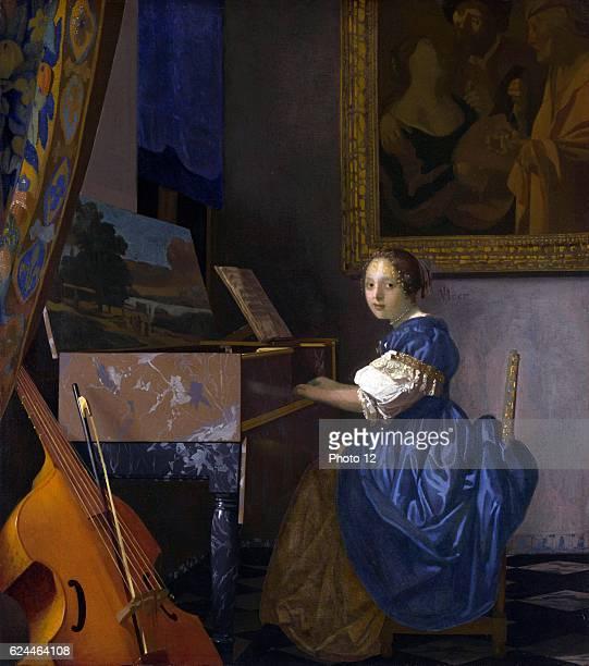 Johannes Vermeer Dutch school Lady Seated at a Virginal Oil on canvas
