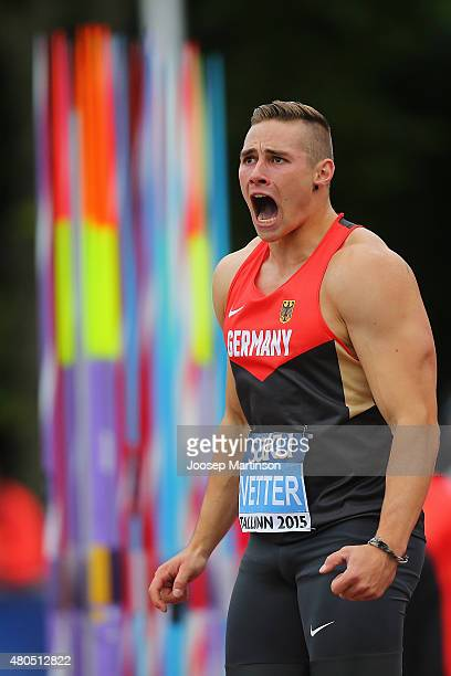 Johannes Vetter of Germany reacts during the Men's Javelin Throw on day four of the European Athletics U23 Championships at Kadriorg Stadium on July...