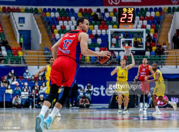 Johannes Voigtmann #17 of CSKA Moscow in action against Alba Berlin during the Turkish Airlines EuroLeague Round 4 of 20202021 season at the...