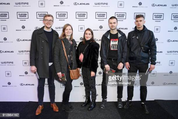 Johannes Wanzel Nina Poisch Malon Wegmann Hannah Reif and Jannis Falkenberg attend the AMD Exit18 show during Platform Fashion January 2018 at Areal...
